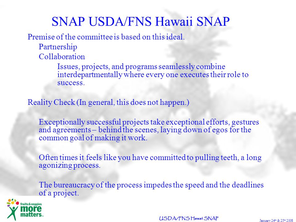 January 24 th & 25 th 2008 USDA/FNS Hawaii SNAP SNAP USDA/FNS Hawaii SNAP Premise of the committee is based on this ideal.