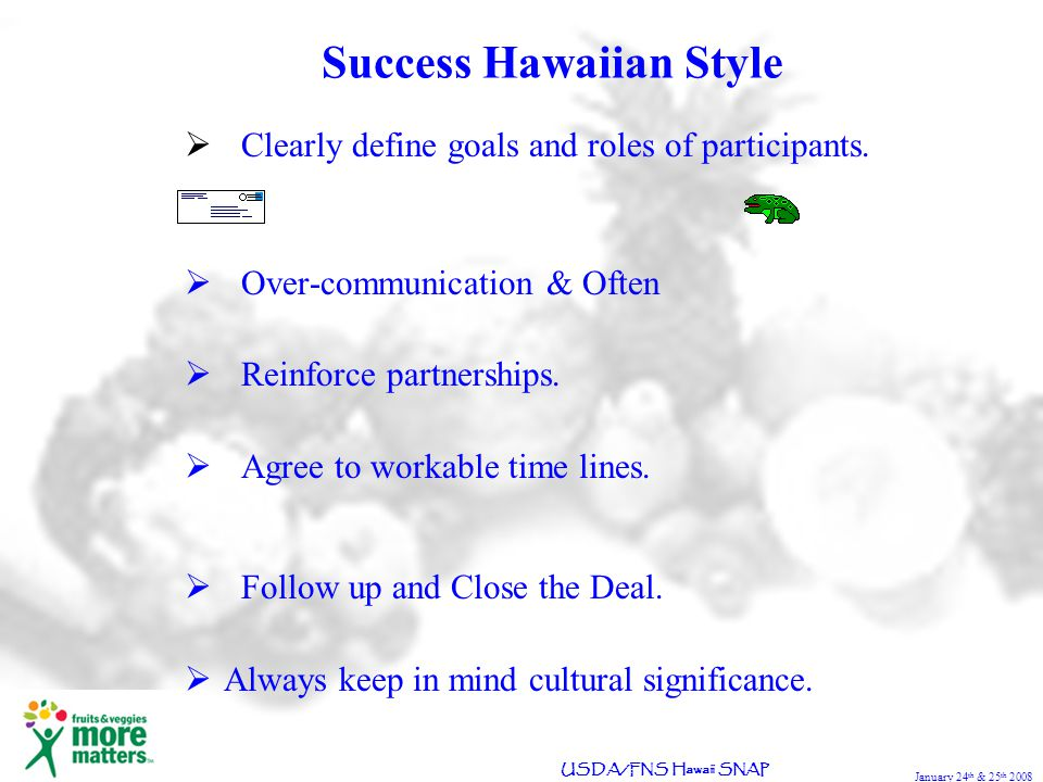 January 24 th & 25 th 2008 USDA/FNS Hawaii SNAP Success Hawaiian Style Clearly define goals and roles of participants.