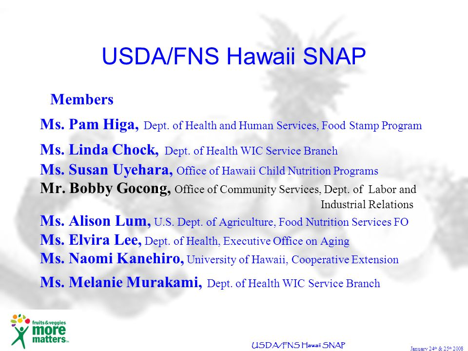January 24 th & 25 th 2008 USDA/FNS Hawaii SNAP Members Ms.