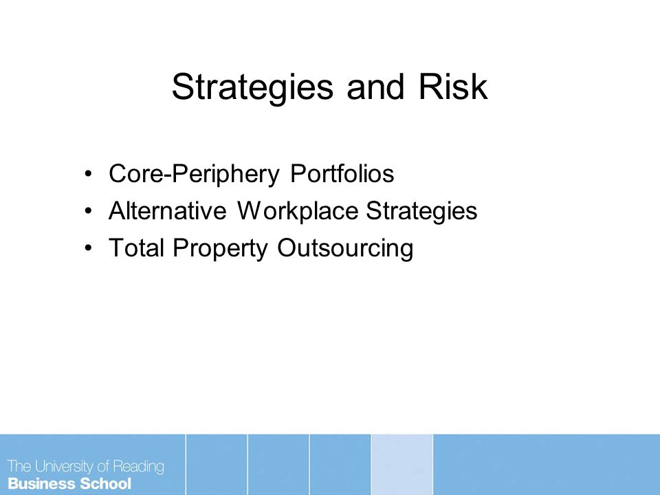Strategies and Risk Core-Periphery Portfolios Alternative Workplace Strategies Total Property Outsourcing