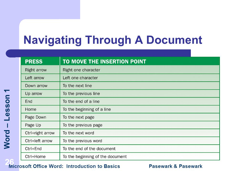 Word – Lesson 1 Microsoft Office Word: Introduction to Basics Pasewark & Pasewark 26 Navigating Through A Document