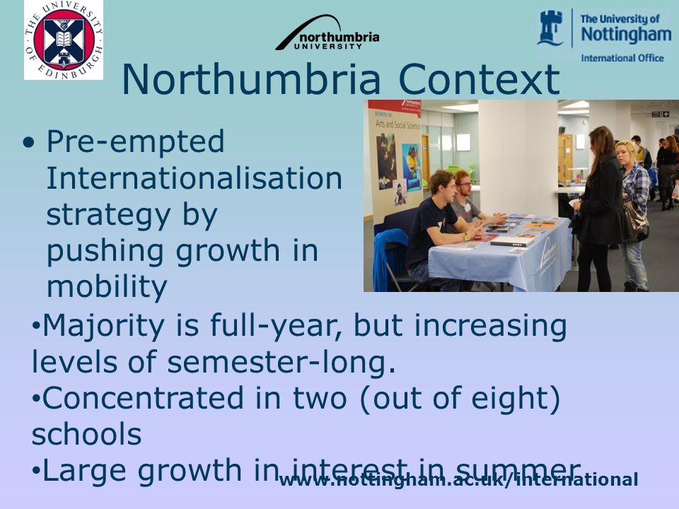 www.nottingham.ac.uk/international Northumbria Context Pre-empted Internationalisation strategy by pushing growth in mobility Majority is full-year, but increasing levels of semester-long.