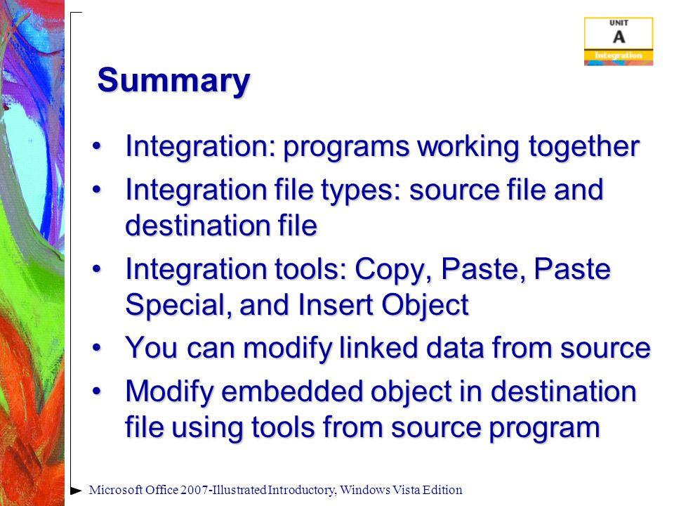 Microsoft Office 2007-Illustrated Introductory, Windows Vista Edition Summary Integration: programs working togetherIntegration: programs working toge