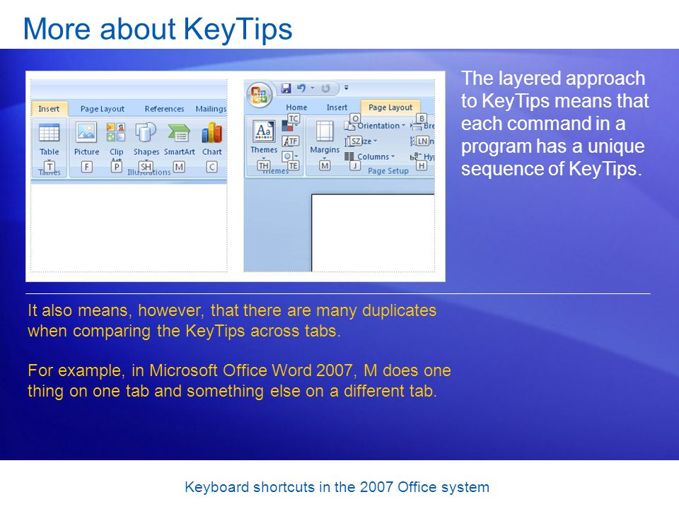 Keyboard shortcuts in the 2007 Office system More about KeyTips The layered approach to KeyTips means that each command in a program has a unique sequence of KeyTips.