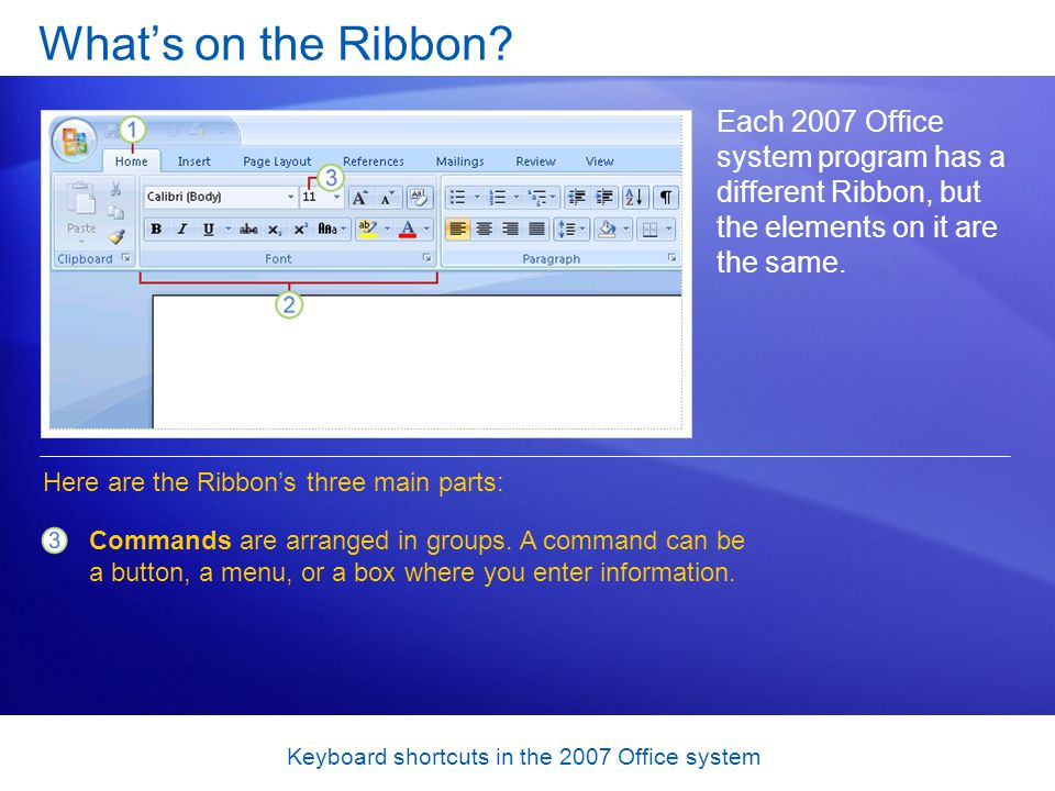 Keyboard shortcuts in the 2007 Office system Test 1, question 2: Answer On the menu that opens when you click the Microsoft Office Button.