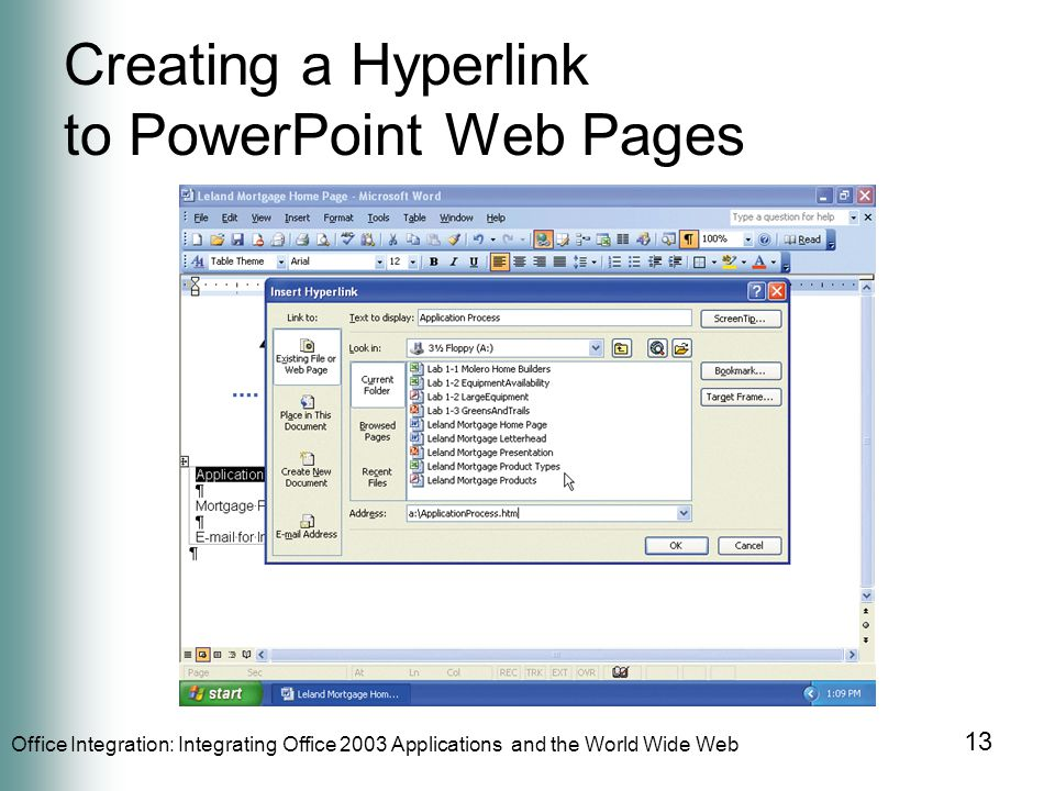 Office Integration: Integrating Office 2003 Applications and the World Wide Web 13 Creating a Hyperlink to PowerPoint Web Pages