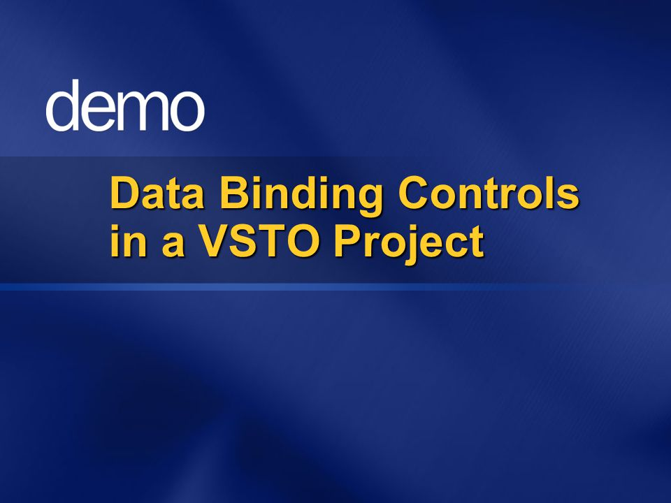 Data Binding Controls in a VSTO Project