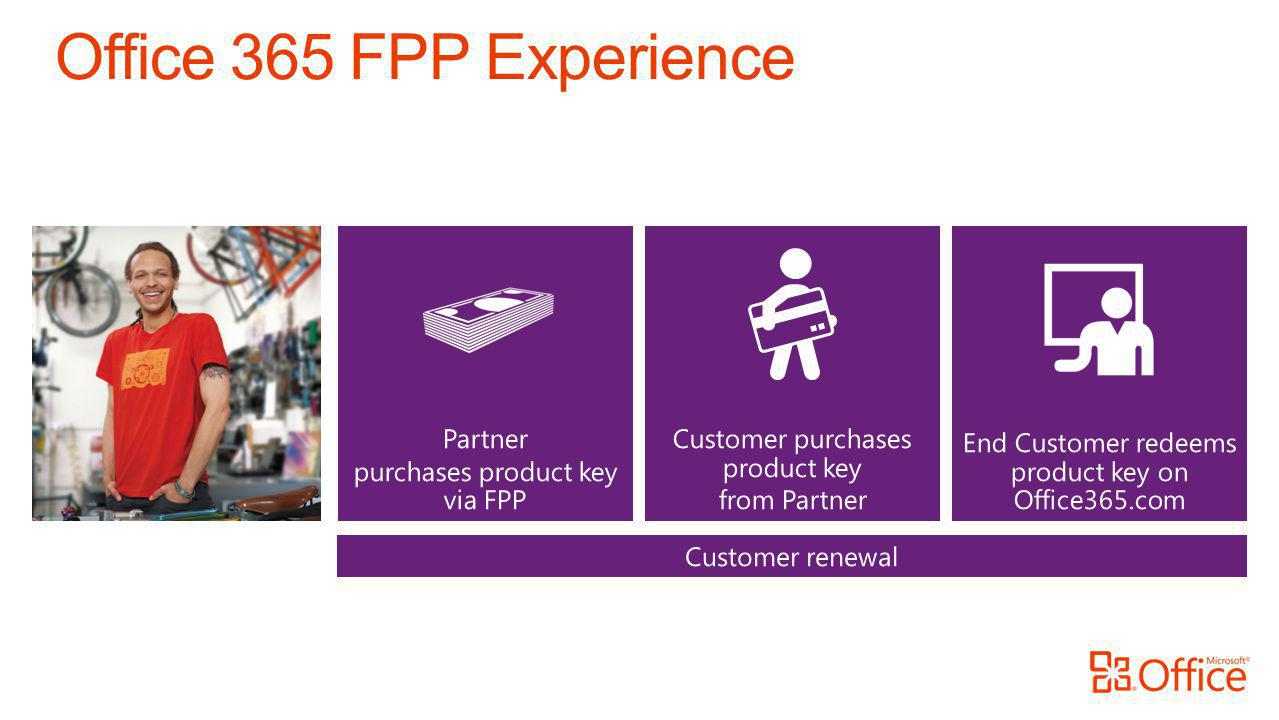 End Customer redeems product key on Office365.com Partner purchases product key via FPP Customer purchases product key from Partner