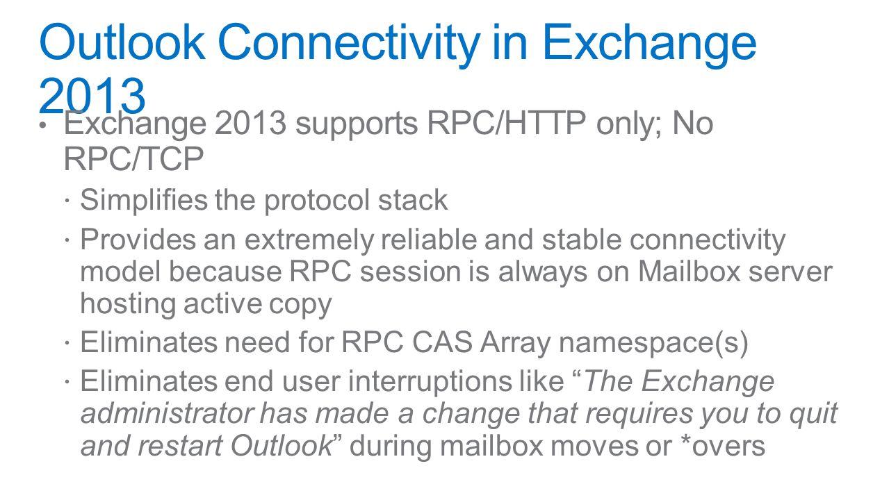 Load Balancer MDB HTTP Proxy IIS Client Access RPC CA Mailbox IIS RPS OWA, EAS, EWS, ECP, OAB POP, IMAP SMTPUM POP IMAP Transpo rt UM SMTP POP, IMAP HTTP MailQ RpcProxy SMTP SI P Redirect SIP + RTP POP/IMAP Outlook Web AppOutlookEASEACPowerShell