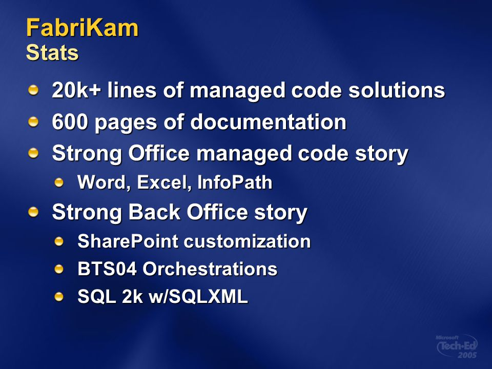 FabriKam Stats 20k+ lines of managed code solutions 600 pages of documentation Strong Office managed code story Word, Excel, InfoPath Strong Back Offi