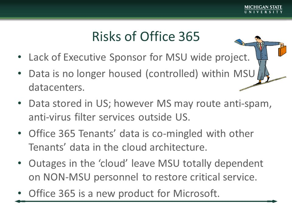 Risks of Office 365 Lack of Executive Sponsor for MSU wide project.