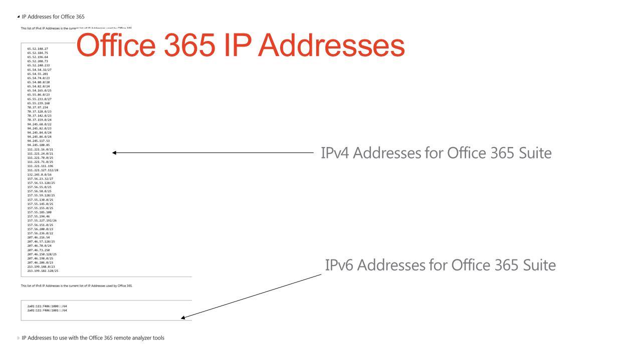 Office 365 IP Addresses