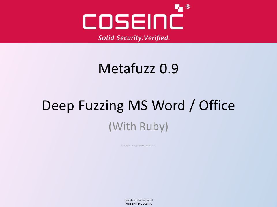 Private & Confidential Property of COSEINC Working with Word Word creates temp files all over the place This fills up your client disk and fragments it Best thing to do is create a RAMDisk (later) ~$foo.doc gets created next to foo.doc Other temp files may be created in %TMP% or %TEMP% Still more in...