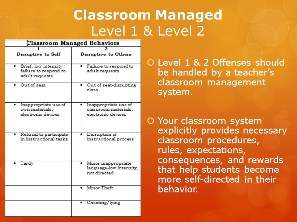 Classroom Managed Level 1 & Level 2 Level 1 & 2 Offenses should be handled by a teachers classroom management system.