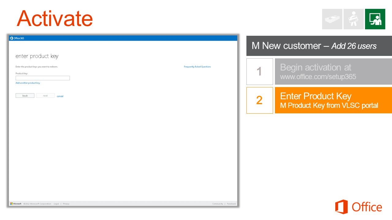 Begin redemption at www.office.com/setup365 Begin activation at www.office.com/setup365 Enter Product Key M Product Key from VLSC portal M New customer – Add 26 users
