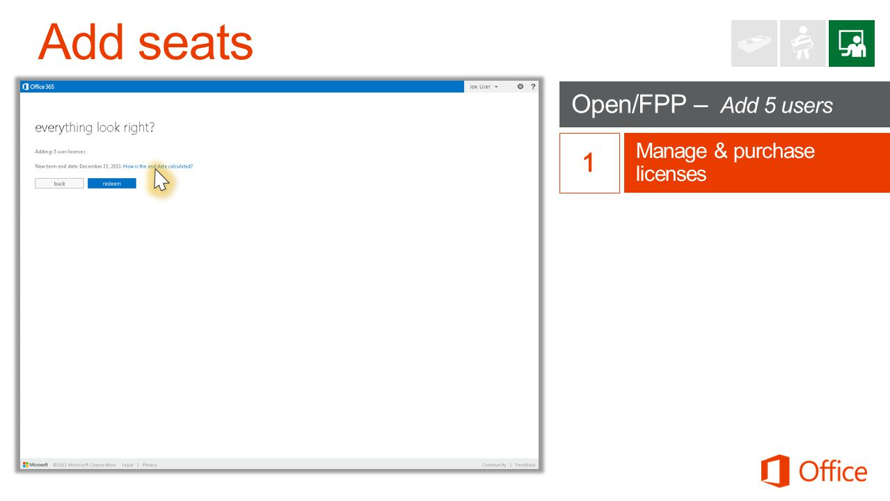 Open/FPP – Add 5 users Manage & purchase licenses