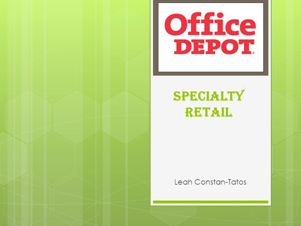 Specialty Retail - Industry Overview Includes stores that sell stationery, school and office supplies Sub-industries such as office stationery manufacturers and wholesalers provide goods to office supply stores in the U.S.