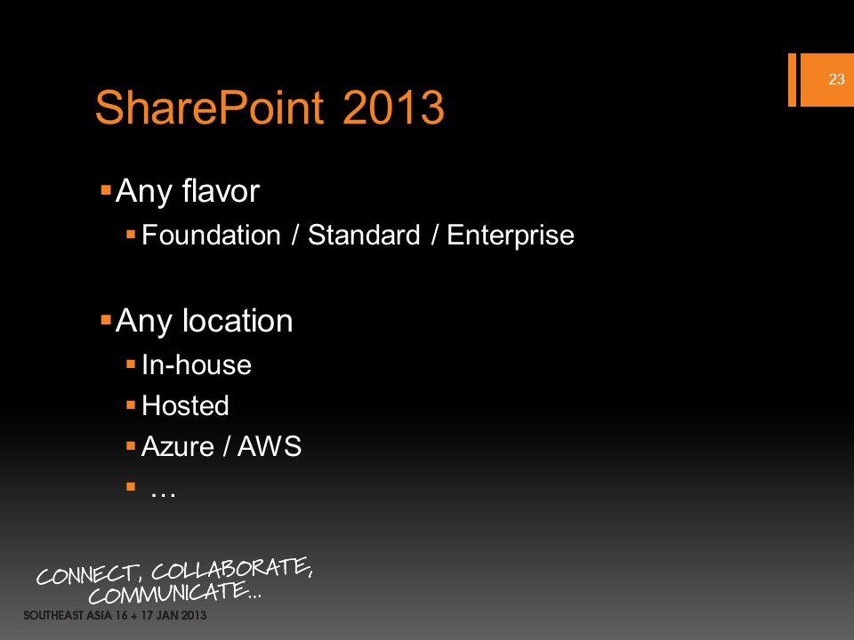 SharePoint 2013 Any flavor Foundation / Standard / Enterprise Any location In-house Hosted Azure / AWS … 23