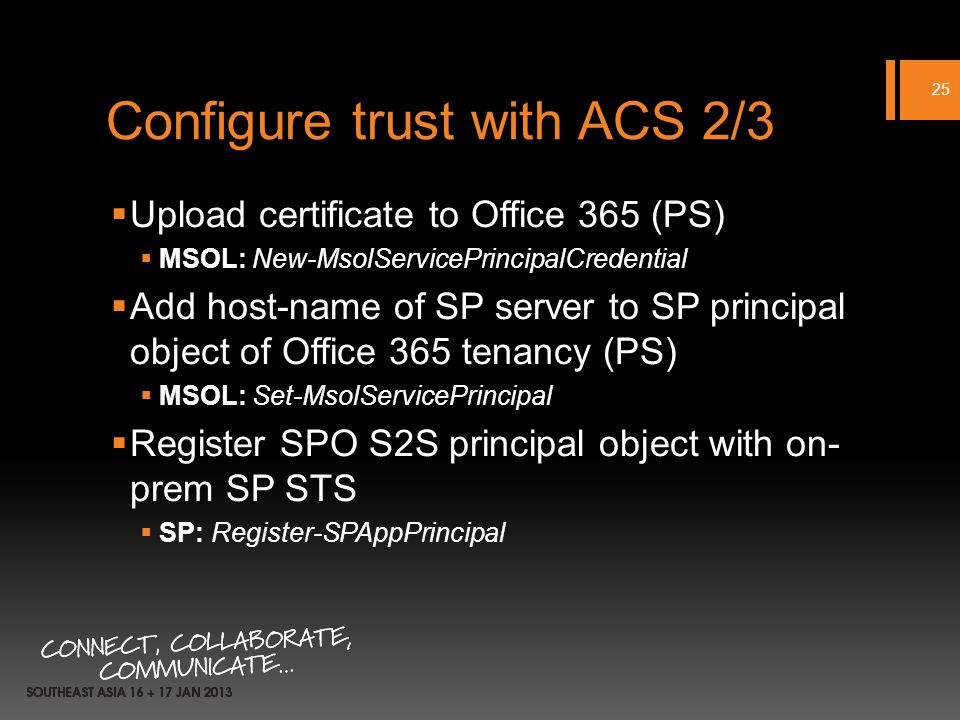 Configure trust with ACS 2/3 Upload certificate to Office 365 (PS) MSOL: New-MsolServicePrincipalCredential Add host-name of SP server to SP principal object of Office 365 tenancy (PS) MSOL: Set-MsolServicePrincipal Register SPO S2S principal object with on- prem SP STS SP: Register-SPAppPrincipal 25