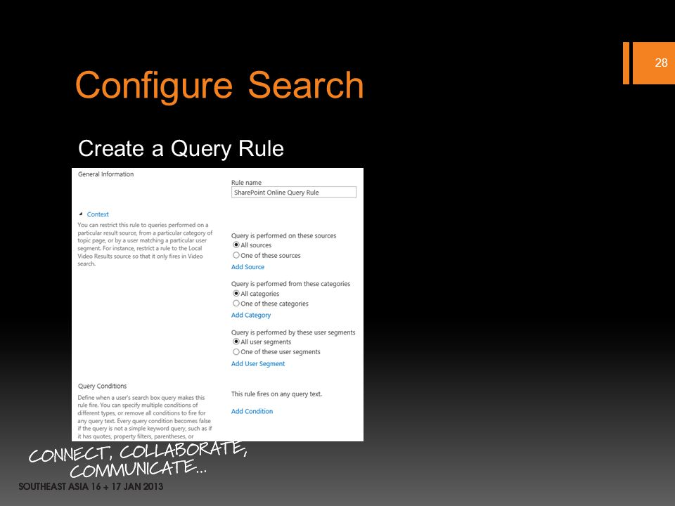 Configure Search Create a Query Rule 28