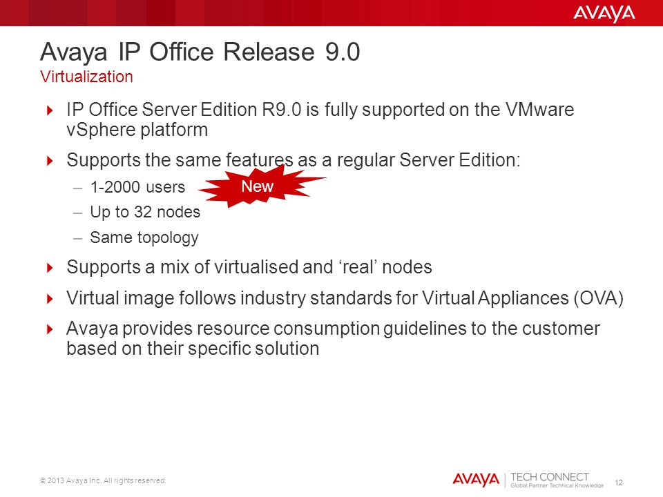 © 2013 Avaya Inc. All rights reserved. 12 IP Office Server Edition R9.0 is fully supported on the VMware vSphere platform Supports the same features a