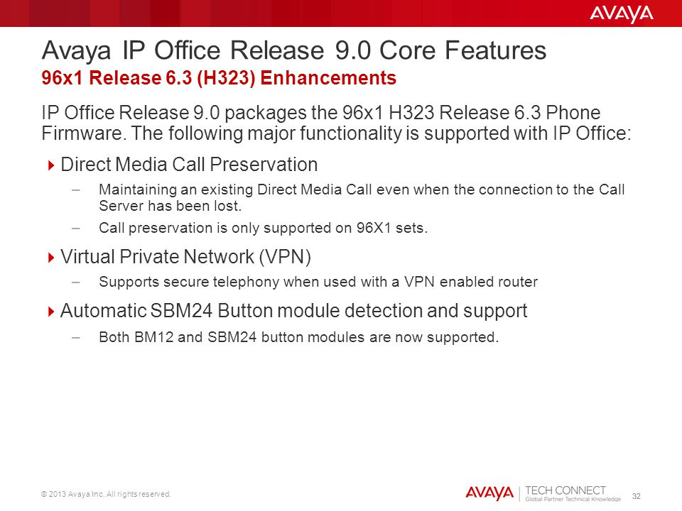 © 2013 Avaya Inc. All rights reserved. 32 IP Office Release 9.0 packages the 96x1 H323 Release 6.3 Phone Firmware. The following major functionality i