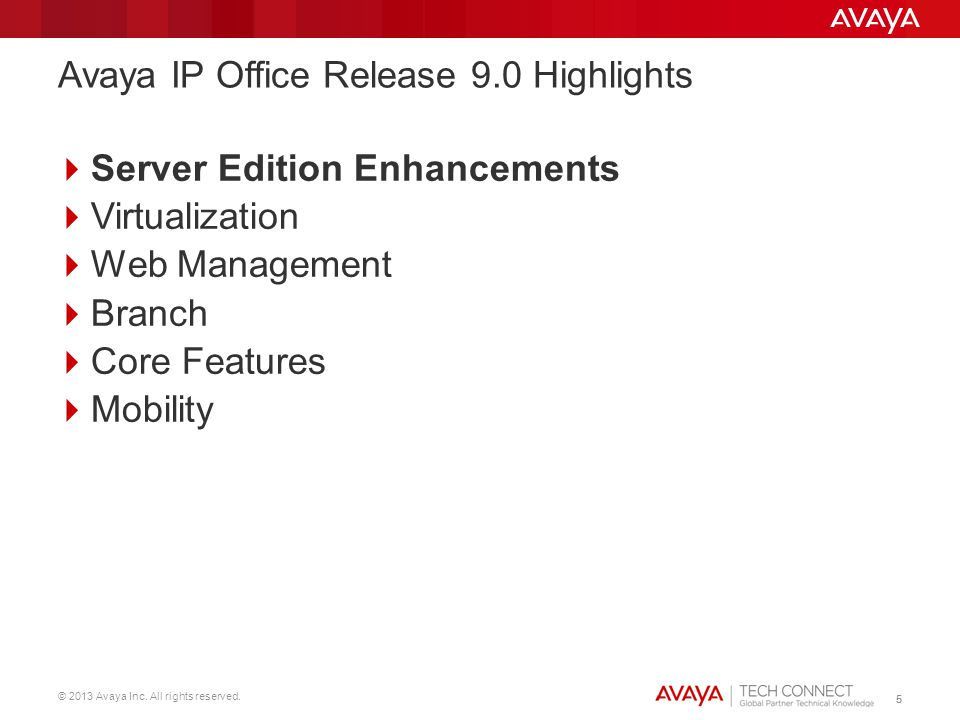 © 2013 Avaya Inc. All rights reserved. 55 Server Edition Enhancements Virtualization Web Management Branch Core Features Mobility Avaya IP Office Rele