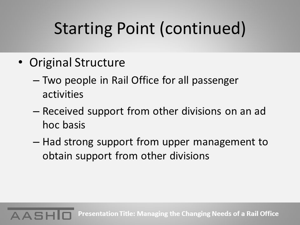 Starting Point (continued) Original Structure – Two people in Rail Office for all passenger activities – Received support from other divisions on an ad hoc basis – Had strong support from upper management to obtain support from other divisions Presentation Title: Managing the Changing Needs of a Rail Office