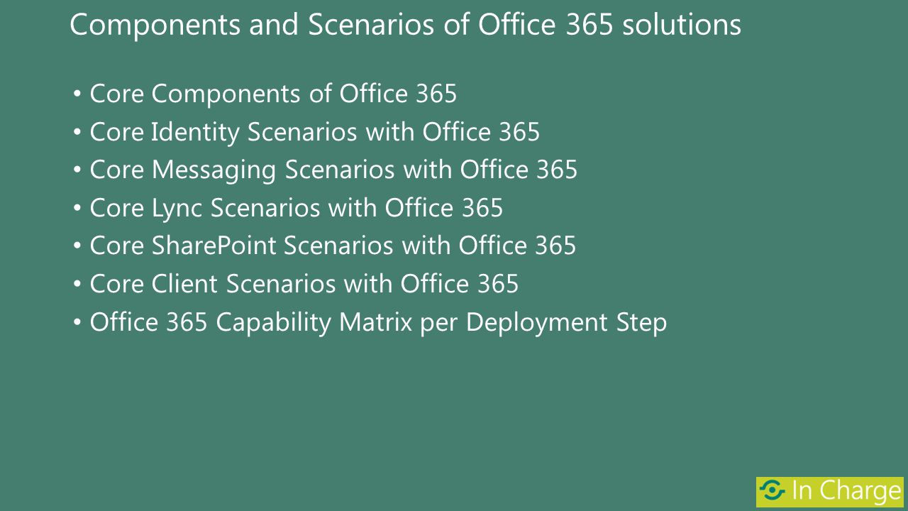 Components and Scenarios of Office 365 solutions Core Components of Office 365 Core Identity Scenarios with Office 365 Core Messaging Scenarios with O