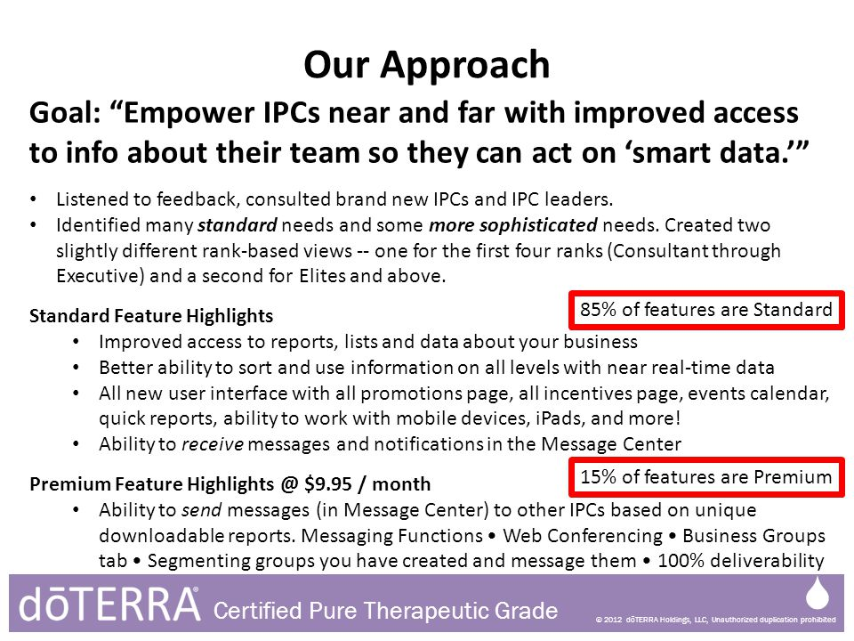 © 2012 dōTERRA Holdings, LLC, Unauthorized duplication prohibited Certified Pure Therapeutic Grade Our Approach Goal: Empower IPCs near and far with i