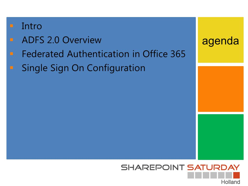 Intro ADFS 2.0 Overview Federated Authentication in Office 365 Single Sign On Configuration agenda
