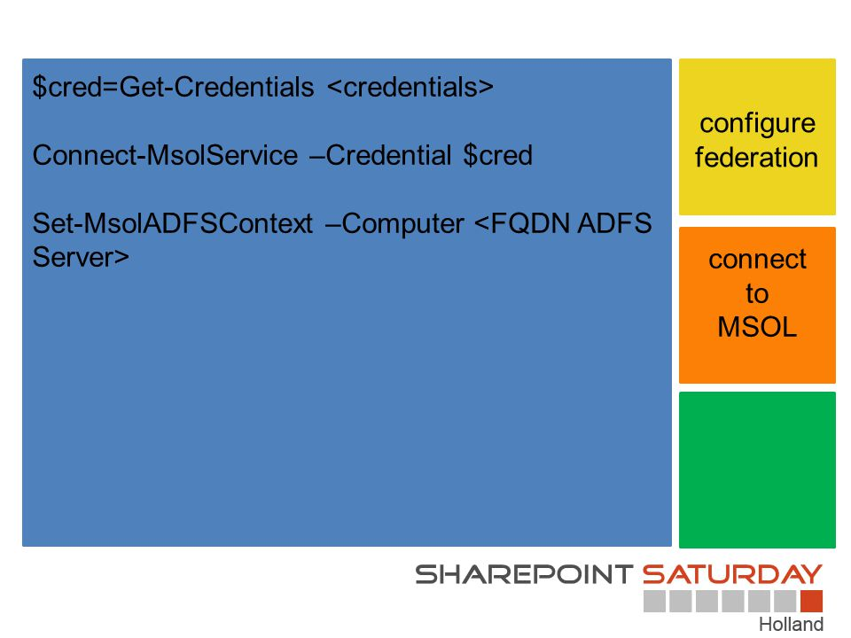 connect to MSOL configure federation $cred=Get-Credentials Connect-MsolService –Credential $cred Set-MsolADFSContext –Computer