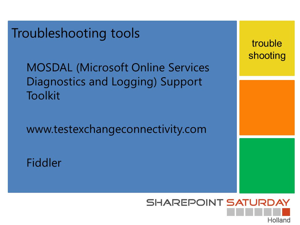 trouble shooting Troubleshooting tools MOSDAL (Microsoft Online Services Diagnostics and Logging) Support Toolkit www.testexchangeconnectivity.com Fiddler