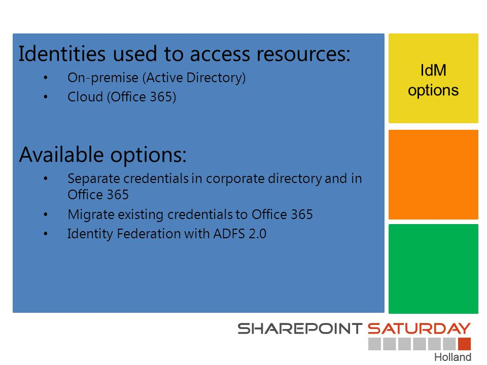 IdM options Identities used to access resources: On-premise (Active Directory) Cloud (Office 365) Available options: Separate credentials in corporate directory and in Office 365 Migrate existing credentials to Office 365 Identity Federation with ADFS 2.0