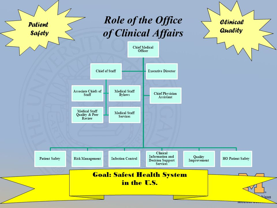 Role of the Office of Clinical Affairs Patient Safety Goal: Safest Health System in the U.S.