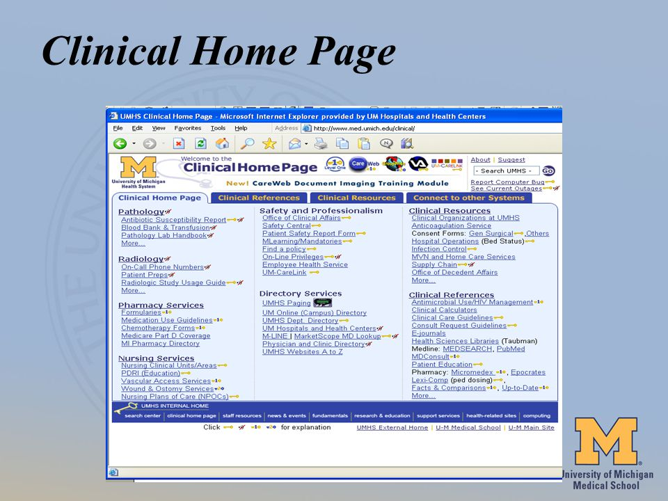 Clinical Home Page