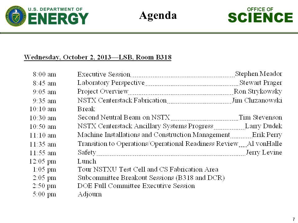 OFFICE OF SCIENCE 8 Agenda Contd