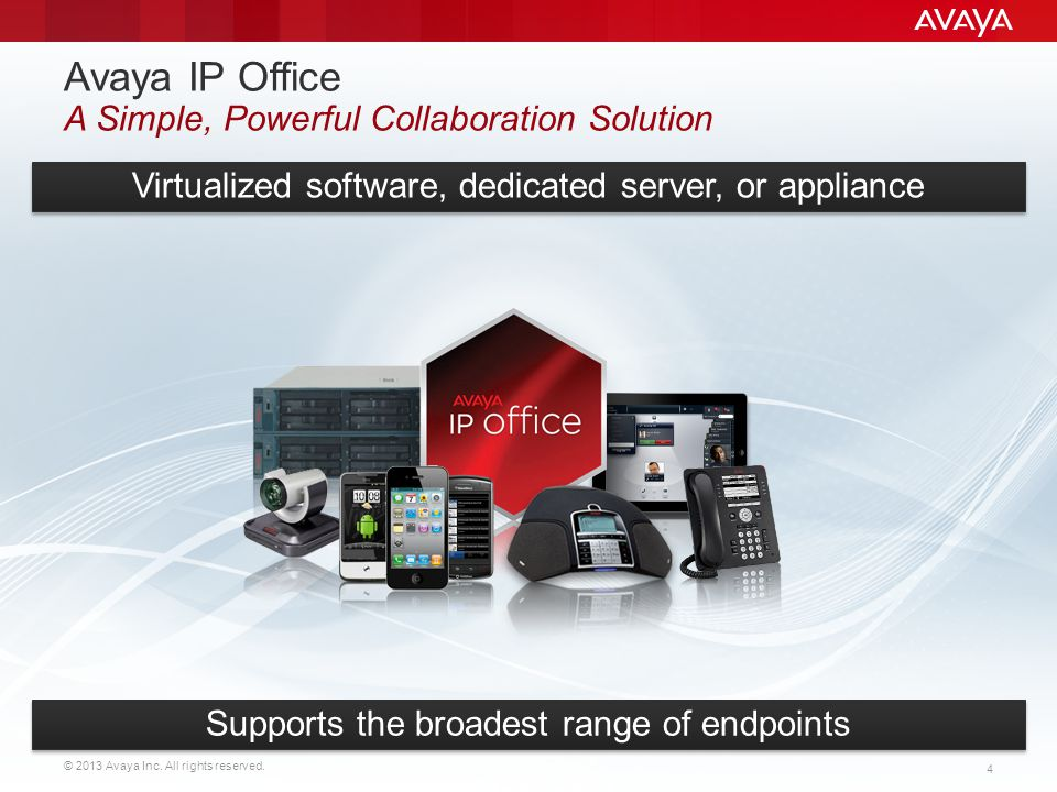 © 2013 Avaya Inc. All rights reserved. 4 Avaya IP Office A Simple, Powerful Collaboration Solution Virtualized software, dedicated server, or applianc