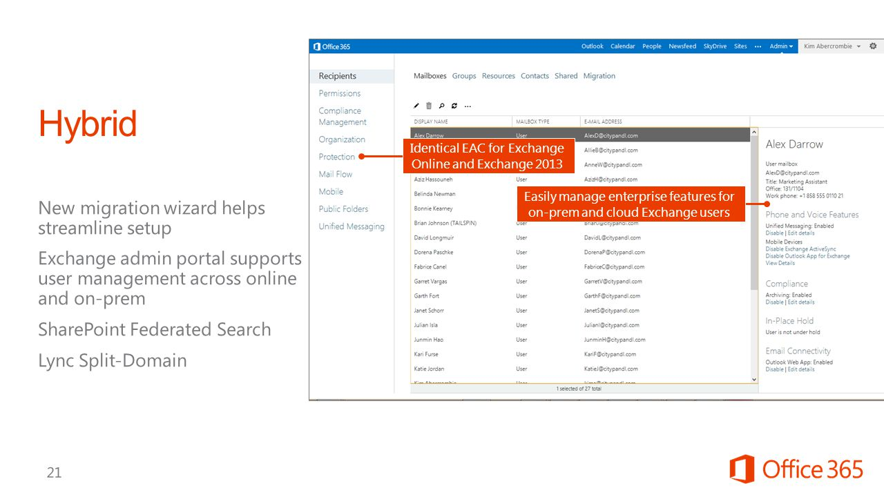 Easily manage enterprise features for on-prem and cloud Exchange users Identical EAC for Exchange Online and Exchange 2013