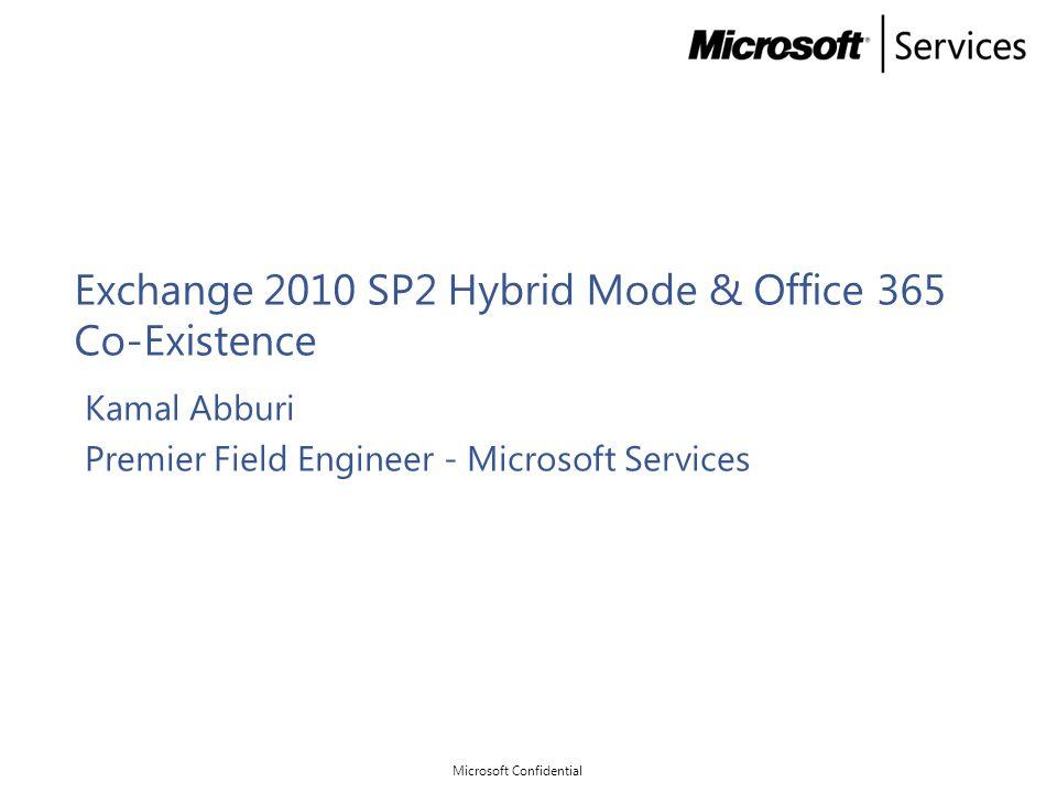 Exchange 2010 SP2 Hybrid Mode & Office 365 Co-Existence Kamal Abburi Premier Field Engineer - Microsoft Services Microsoft Confidential