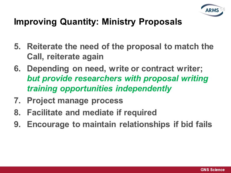 GNS Science Improving Quantity: Ministry Proposals 5.Reiterate the need of the proposal to match the Call, reiterate again 6.Depending on need, write or contract writer; but provide researchers with proposal writing training opportunities independently 7.Project manage process 8.Facilitate and mediate if required 9.Encourage to maintain relationships if bid fails 14