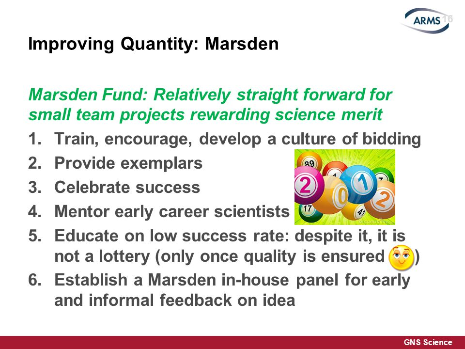 GNS Science Improving Quantity: Marsden Marsden Fund: Relatively straight forward for small team projects rewarding science merit 1.Train, encourage, develop a culture of bidding 2.Provide exemplars 3.Celebrate success 4.Mentor early career scientists 5.Educate on low success rate: despite it, it is not a lottery (only once quality is ensured ) 6.Establish a Marsden in-house panel for early and informal feedback on idea 16