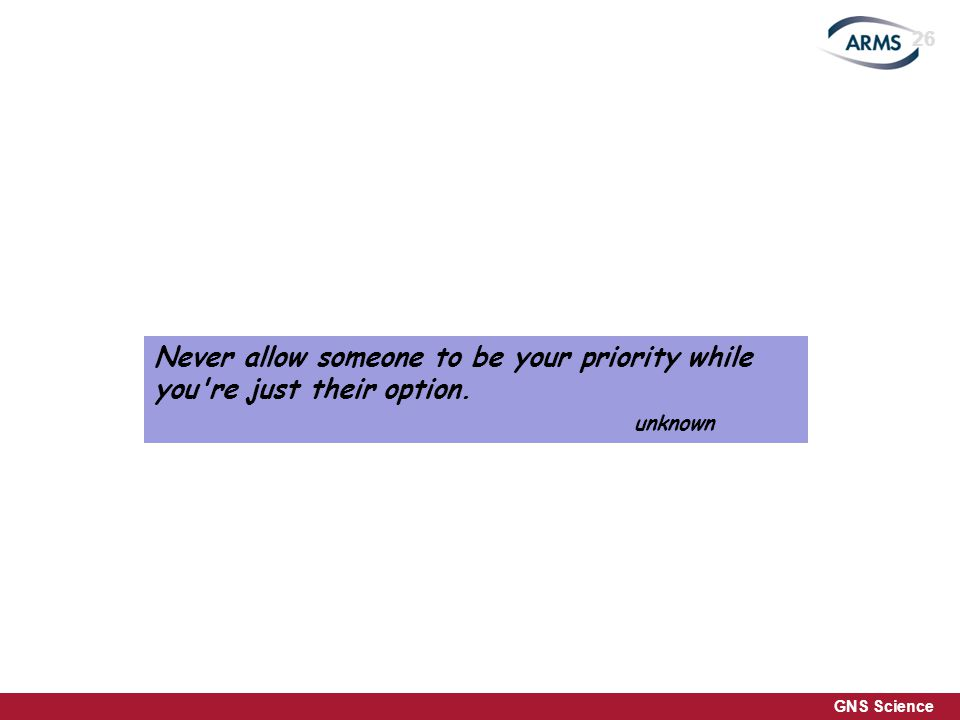 GNS Science Never allow someone to be your priority while you re just their option. unknown 26