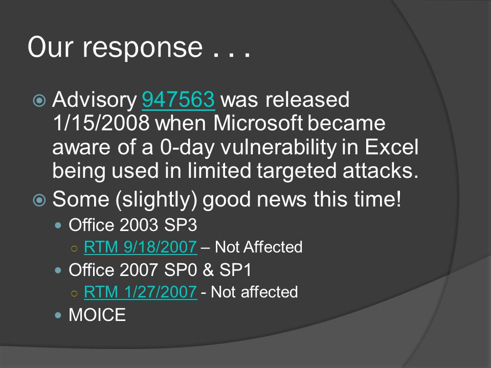 Our response... Advisory 947563 was released 1/15/2008 when Microsoft became aware of a 0-day vulnerability in Excel being used in limited targeted at