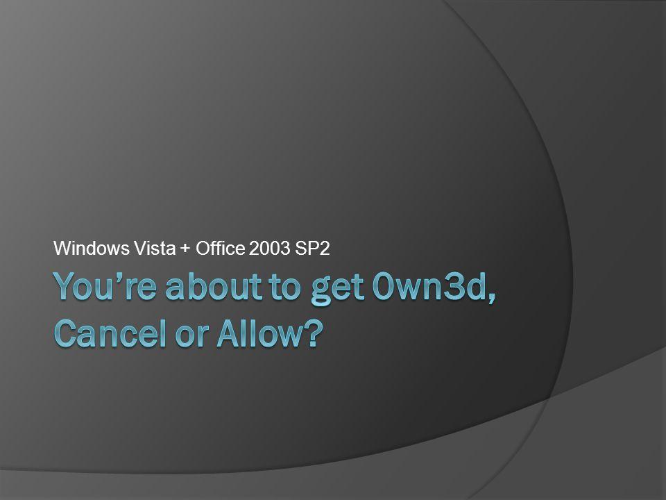 Windows Vista + Office 2003 SP2
