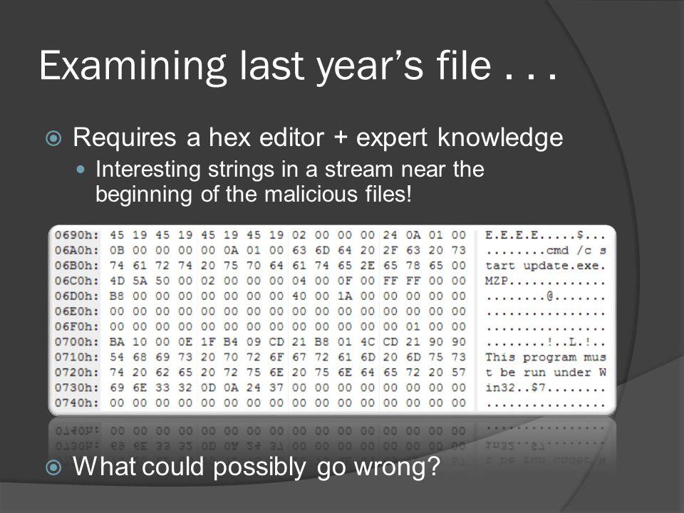 Examining last years file...