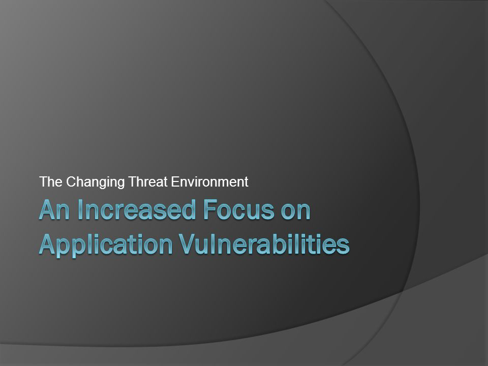 The Changing Threat Environment
