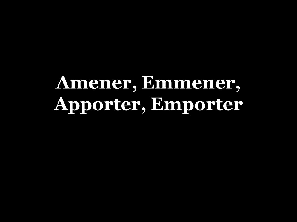 Apporter / amener =To bring The French verbs apporter and amener are used to indicate that you are bringing someone/something with you to the place where you are.