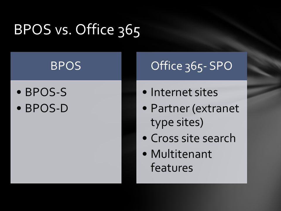BPOS BPOS-S BPOS-D Office 365- SPO Internet sites Partner (extranet type sites) Cross site search Multitenant features BPOS vs.