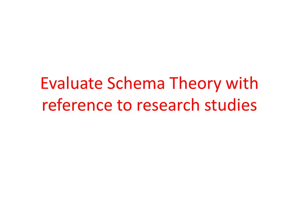 Evaluate Schema Theory with reference to research studies